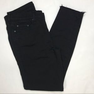 Mother the looker ankle fray black jeans